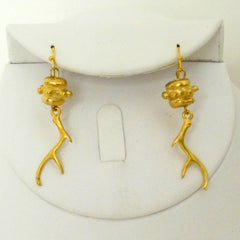 Handcast Gold Antler Earrings