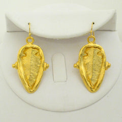 Handcast Gold Arrowhead Medallion Earrings