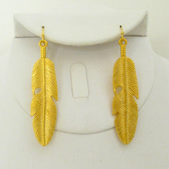 Handcast Gold Feather Earrings