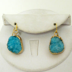 Aqua Druzy Drop Earrings