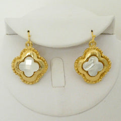 Gold Clover w/ Genuine Freshwater Pearl Earrings