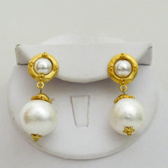 Cotton Pearl Elegant Dangle Earrings