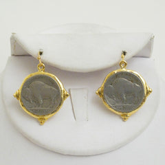 Handcast Gold & Silver Buffalo Nickel Dangle Earrings