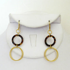 Tortoise and Gold Circle Earrings