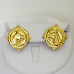 Gold Horse Head Stud Earrings