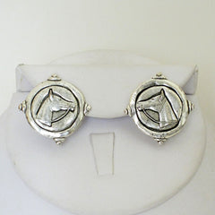 Silver Horse Head Stud Earrings