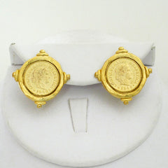 Gold Coin Stud Earrings