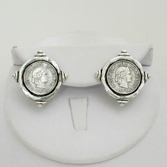 Silver Coin Stud Earrings