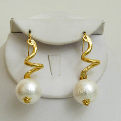 Spiral Cotton Pearl Drop Earrings