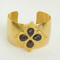 Gold Clover w/ Genuine Smokey Quartz Cuff Bracelet