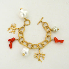 Genuine Coral and Cotton Pearl Bracelet