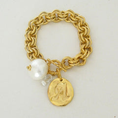 Gold w/Cotton Pearl Initial Bracelet