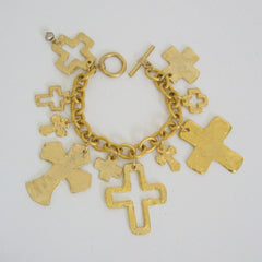 Handcast Gold Multi-Cross Charm Bracelet