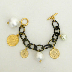 Gold Coin & Cotton Pearl on Tortoise Charm Bracelet