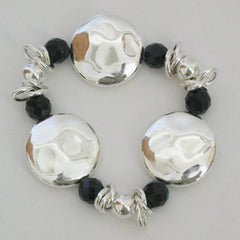 Silver Circle & Black Crystal Bracelet