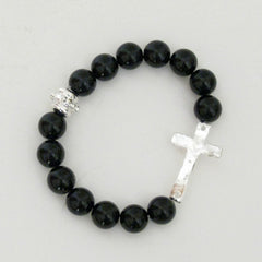 Silver Cross on Black Onyx Bracelet