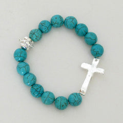 Silver Cross on Turquoise Bracelet
