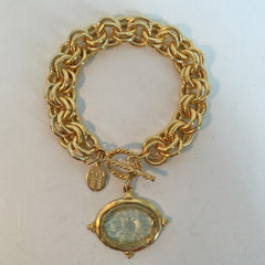 Clear Venetian Glass Bee Intaglio on Chain Bracelet