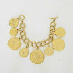 Handcast Gold Large Coin Bracelet