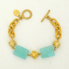 Gold Mini Cross w/ Aqua Quartz Bracelet