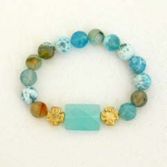 Gold Mini Crosses with Fire Agate & Aqua Quartz Bracelet
