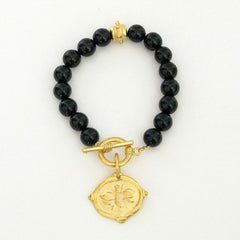 Gold Bee on Black Onyx Bracelet
