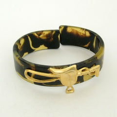 Gold Saddle on Tortoise Cuff Bracelet