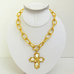 Gold Cross w/ Genuine Freshwater Pearls Necklace