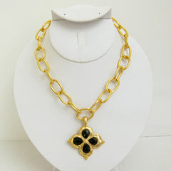 Gold Clover w/ Genuine Black Onyx Necklace