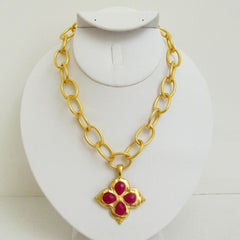 Gold Clover w/ Genuine Ruby Jade Necklace