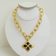 Gold Clover w/ Genuine Sodalite Necklace