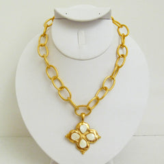 Gold Clover w/ Genuine Freshwater Pearls Necklace