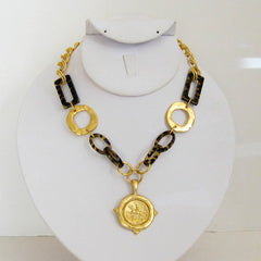 Tortoise & Gold Equestrian Necklace