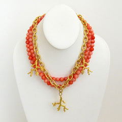 Handcast Gold Coral with Pink Coral Necklace