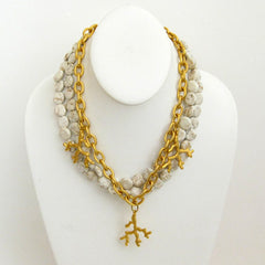 Handcast Gold Coral with Genuine White Turquoise Necklace