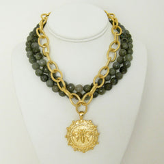 Multi-Strand Genuine Labradorite and Gold Bee Necklace