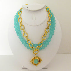 Multi-Strand Aqua & Gold Necklace