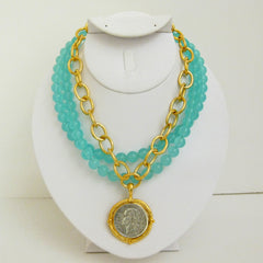 Multi-Strand Aqua Quartz w/ Gold & Silver Coin Necklace
