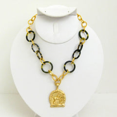 Gold Equestrian on Tortoise Link Necklace