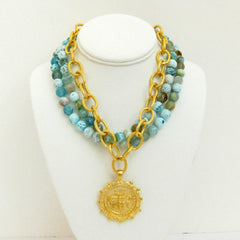 Multi-Strand Fire Agate with Handcast Gold Bee Necklace