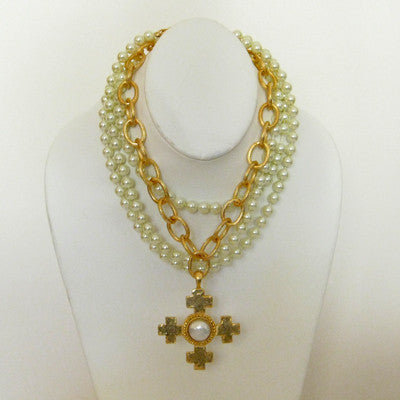 Susan shaw 3 strand pearl with gold cross necklace lauren london gold multi strand pearl necklace with quad cross pendant aloadofball