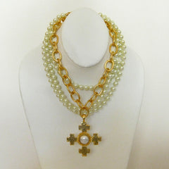 Gold Multi-Strand Pearl Necklace with Quad Cross Pendant