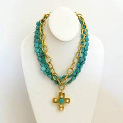 Gold Multi-Strand Turquoise & Cross Necklace