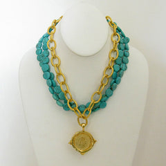 Gold Multi-Strand Turquoise & Coin Necklace