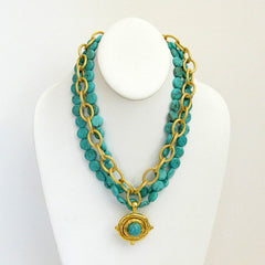 Gold Multi-Strand Turquoise Necklace