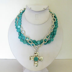 Silver Mult-Strand Turquoise & Cross Necklace