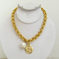 Gold Initial with Cotton Pearl Necklace