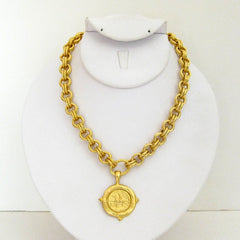 Gold Equestrian on Gold Chain Necklace