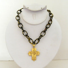 Tortoise w/ Gold Cross Necklace