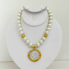 Gold & Silver Coin on Pearl Necklace